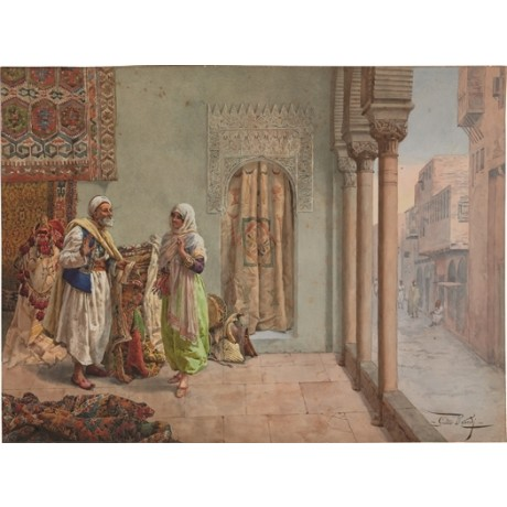 GIULIO ROSATI An Oriental Bazaar ARAB carpets architecture woman street CANVAS