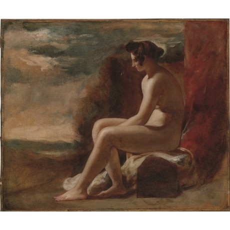 WILLIAM ETTY Seated Female Nude in a Landscape WOMAN alone mountain NEW CANVAS