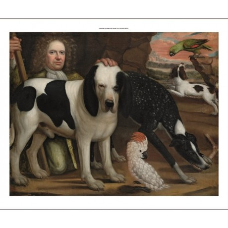 "ANGLO-DUTCH SCHOOL ""Man Kneeling Next to Hound"" CANVAS various SIZES, BRAND NEW"
