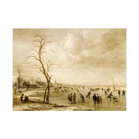 AERT VAN DER NEER Ice Skating landscape ON CANVAS choose SIZE, from 55cm up, NEW