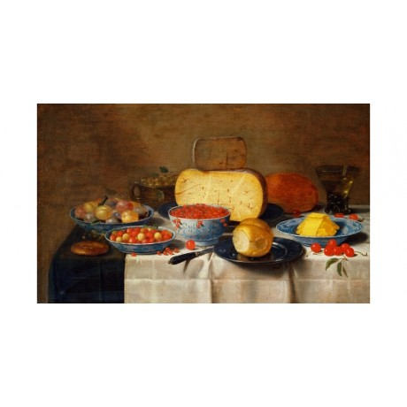 "SCHOOTEN ""Redcurrants Strawberries Plums Cheese Table"" WILD fruit CANVAS PRINT"