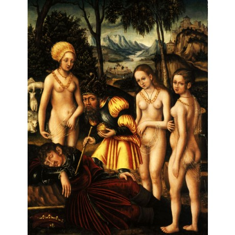 "CRANACH ""Judgement of Paris"" BEAUTY aphrodite sleeping hera greek CANVAS PRINT"