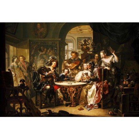 "PLATZER ""Gentleman cheating at Cards"" SUMPTUOUS room elderly lady CANVAS PRINT"