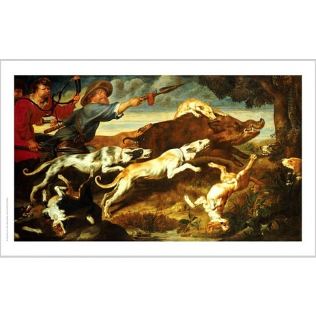 "FRANS SNYDERS ""Boar Hunt"" ON CANVAS art print SALE choose SIZE, from 55cm up"