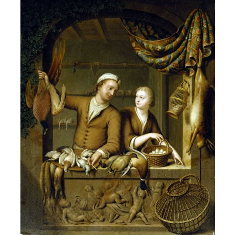 WILLEM VAN MIERIS The Poultry Sellers PARTNERSHIP dead hare birds CANVAS PRINT