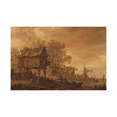 "JAN VAN GOYEN ""A Village On A River Bank"" CANVAS print! various SIZES, BRAND NEW"