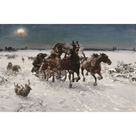ALFRED VON WIERUSZ-KOWALSKI Wolves in pursuit pack CHASE horses men NEW CANVAS