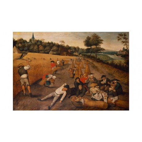 "PIETER BRUEGHEL ""Harvesters Working Eating Cornfield"" TOGETHER meal farm CANVAS"