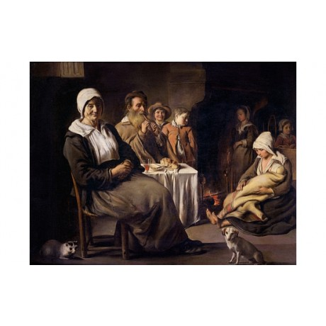 "LE NAIN ""Peasant Family Pipe Children Hearth"" DOMESTIC life fireside old CANVAS"