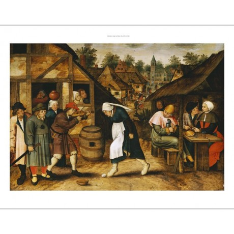 "PIETER BRUEGHEL II ""Egg Dance"" print NEW ON CANVAS choose SIZE, from 55cm up"