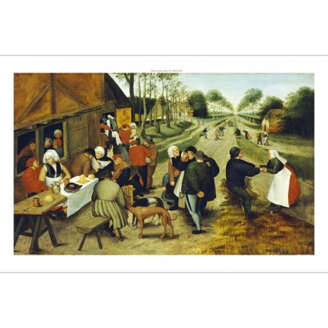 "PIETER BRUEGHEL II ""Peasants At A Roadside Inn"" PRINT various SIZES, BRAND NEW"