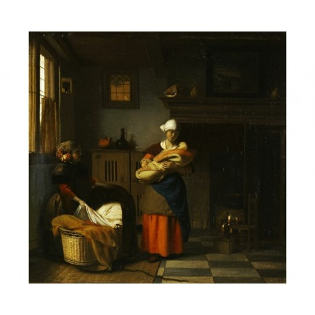 PIETER DE HOOCH Putting A Baby To Bed PRINT ON CANVAS various SIZES, BRAND NEW