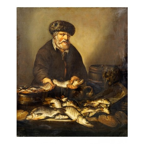 "PUTTER ""Fishmonger Holding Pike Bream Perch"" SEAFOOD trader vendor stall CANVAS"