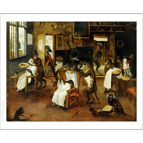 "JAN VAN KESSEL ""Monkey Barbers Serving Cats"" ON CANVAS various SIZES, BRAND NEW"