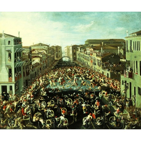 HEINTZ Fight between the Nicolotti and the Castellani FIGHT venice NEW CANVAS!