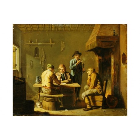 JUSTUS JUNCKER Peasants Playing Cards ON CANVAS choose SIZE, from 55cm up, NEW