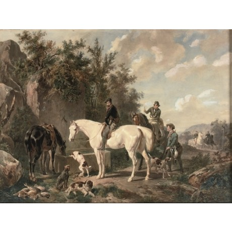 "WOUTERUS VERSCHUUR ""Horses Watering after a Hunt"" THIRSTY hounds CANVAS PRINT"