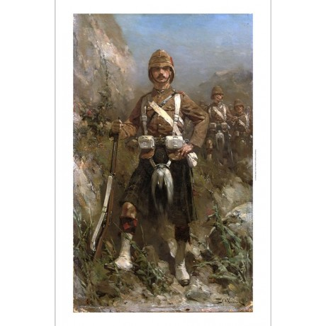"HERMANUS KOEKKOEK ""2nd Batallion Gordon-Highlanders"" HINDI war kilt NEW CANVAS"