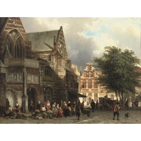 "CORNELIS SPRINGER ""Market Day, the Oude Kerk, Amsterdam"" BUSY vendors CANVAS"
