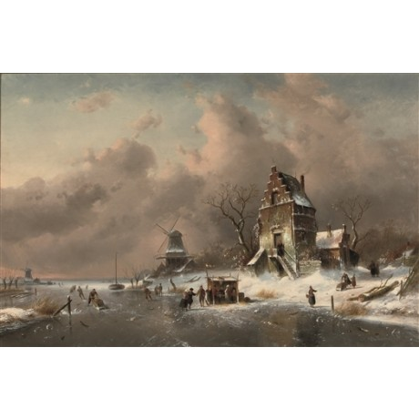 "CHARLES LEICKERT ""Numerous Skaters on Frozen Waterway"" REFRESHMENT stall CANVAS"