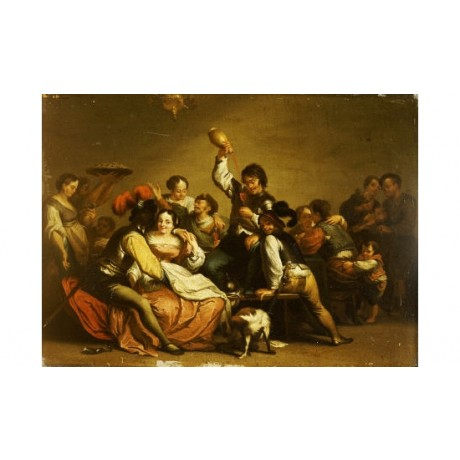 "ANONYMOUS ""A Merry Company"" people ON CANVAS choose SIZE, from 55cm upwards, NEW"