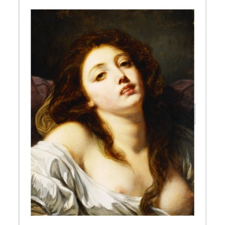 "JEAN-BAPTISTE GREUZE ""Young Woman"" SEDUCTION passion bare breast CANVAS PRINT"