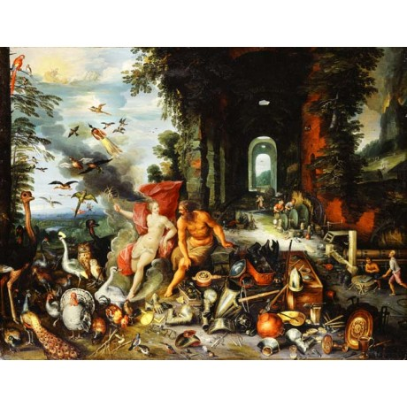 JANS BREUGHEL and FRANS FRANCKEN An Allegory of Air and Fire WOMAN birds NEW!!
