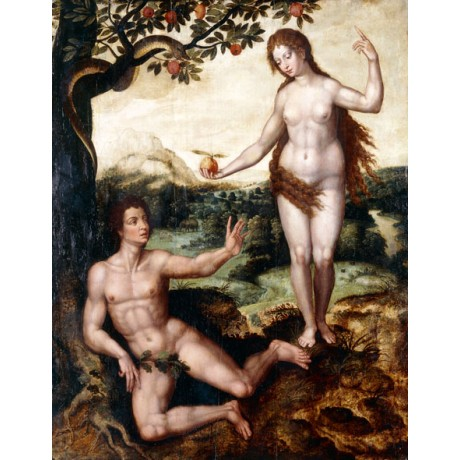 "PIETER COECKE VAN AELST ""The Temptation"" NAKED EVE adam garden eden apple NEW!!"