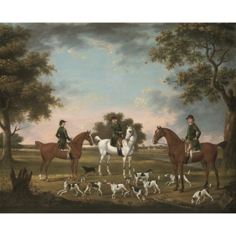 "THOMAS STRINGER ""Huntsmen and hounds in landscape"" KENNELS wooded river CANVAS"