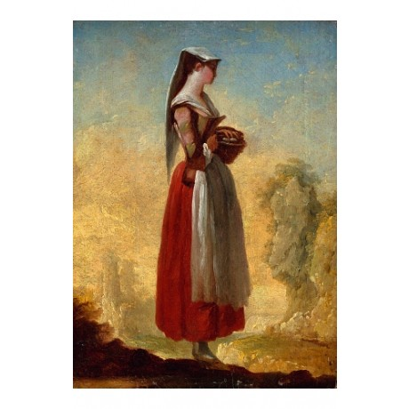BARBAULT Girl From Frascati With Basket In Rocky Landscape VALLEY skirt CANVAS