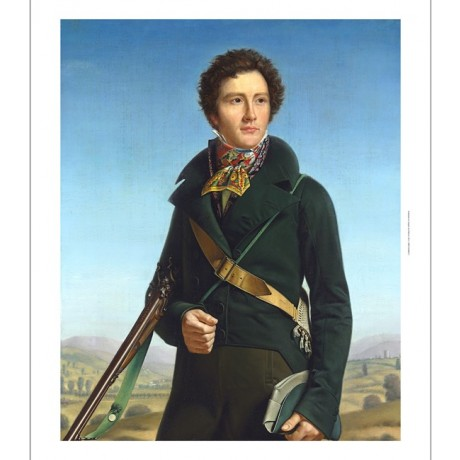 "FRANCOIS-HENRI MULARD ""Portrait of a Gentleman"" gun green jacket CANVAS PRINT"