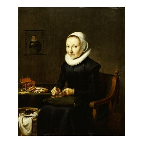 "DUTCH SCHOOL ""Portrait Of Old Lady Embroidering"" choose SIZE, from 55cm up, NEW"