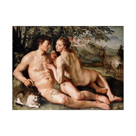 "HENDRICK GOLTZIUS ""Fall Of Man"" nude ON CANVAS choose SIZE, from 55cm up, NEW"