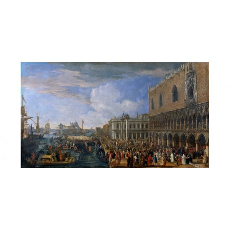"CARLEVARIS ""Arrival Of French Ambassador Doges Palace"" VENICE port CANVAS PRINT"