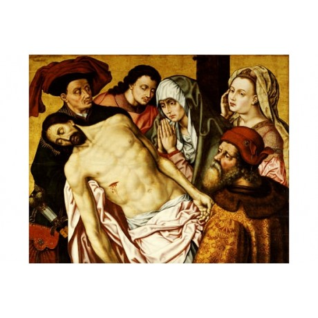 "ANONYMOUS ""Deposition"" religious print ON CANVAS choose SIZE, from 55cm up, NEW"