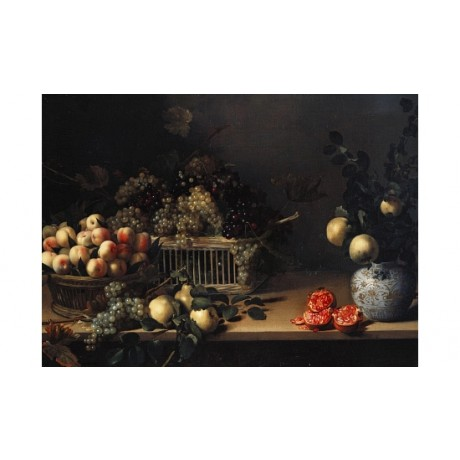 "LOUISE MOILLON ""Grapes And Peaches In Wicker Baskets"" various SIZES, BRAND NEW"