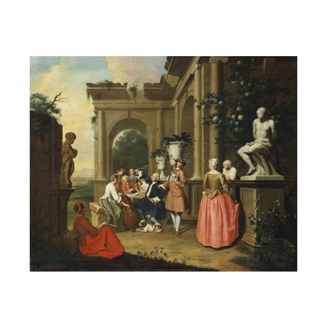 "PIETER JACOB HOREMANS ""A Concert By A Portico"" CANVAS! various SIZES, BRAND NEW"