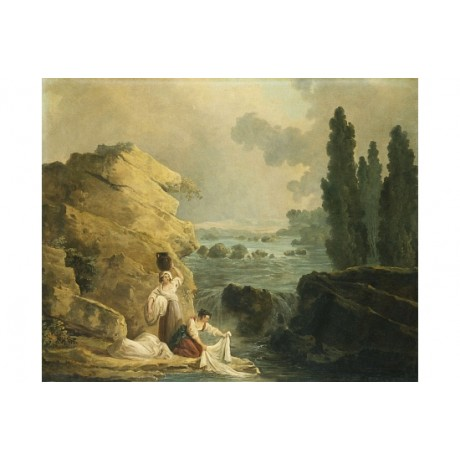 "HUBERT ROBERT ""Washerwoman By A Cascade"" SEE OUR SHOP! various SIZES, BRAND NEW"