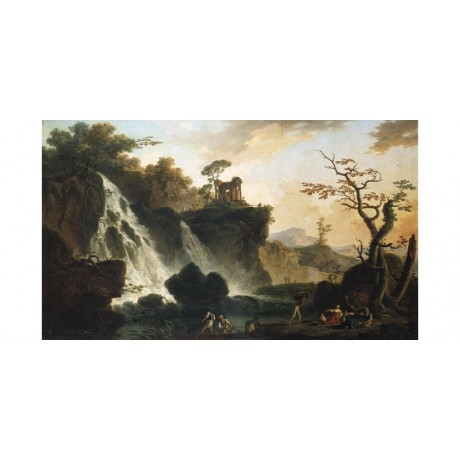 "CHARLES LACROIX ""Fishermen By A Waterfall"" CANVAS PRINT various SIZES, BRAND NEW"