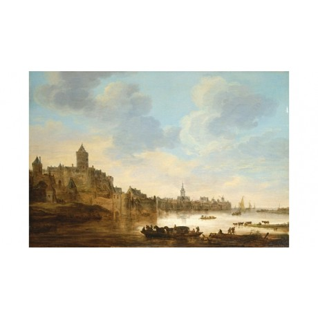 "JAN VAN GOYEN ""A Town On The Banks Of A River"" CANVAS! various SIZES, BRAND NEW"