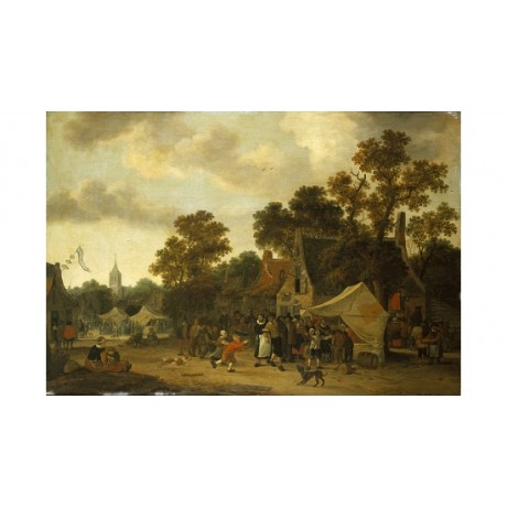 "PIETER DE BLOOT ""A Fair In A Village Street"" ON CANVAS! various SIZES, BRAND NEW"