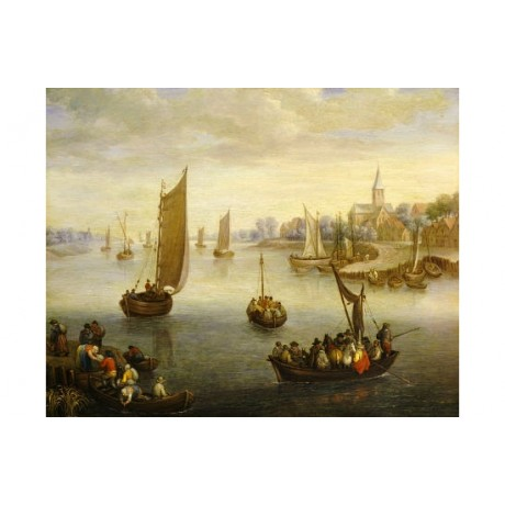 "CHARLES BESCHEY ""River Landscape With Ferry Boats"" ART various SIZES, BRAND NEW"