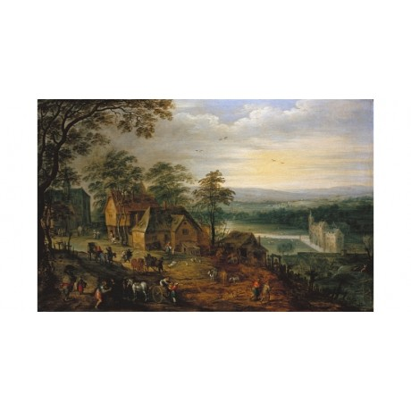 "JAN BRUEGHEL THE YOUNGER ""Village Street With Figures"" various SIZES, BRAND NEW"
