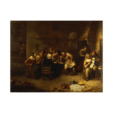 GILLIS VAN TILBORCH Peasants Drinking PRINT ON CANVAS various SIZES, BRAND NEW