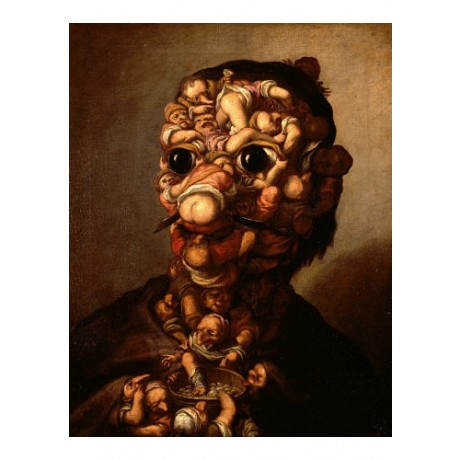 "FAUSTINO BOCCHI ""Head Formed Out Of Pygmies"" print choose SIZE, from 55cm up"