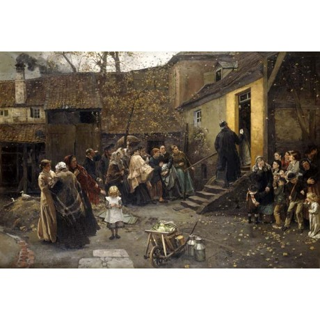CHRISTIAN LUDWIG BOKELMANN An Arrest ANTICIPATION women courtyard CANVAS PRINT