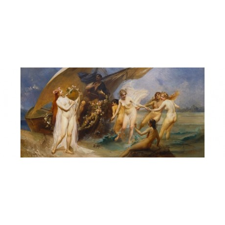"VEITH ""The Sirens"" naked seduction sea FROLICKING temptress ship CANVAS PRINT"