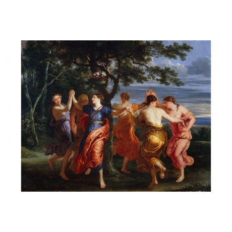 "QUELLINUS ""Nymphs Dancing Around A Tree"" FRIENDSHIP sky coastline CANVAS PRINT"