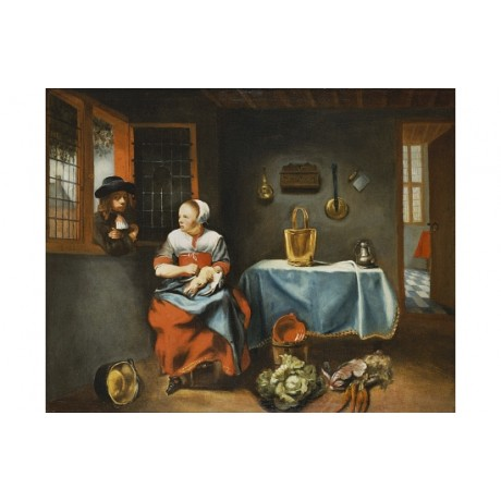 NICOLAES MAES Interior Of A Cottage With Young Maid NEW various SIZES, BRAND NEW