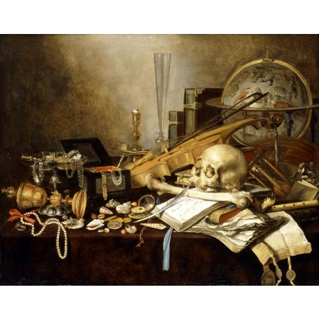 PIETER CLAESZ Musical Instruments and Manuscripts SKULL pearls jewel globe NEW
